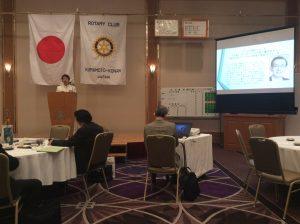 本日の卓話 (クラブ運営について)  福嶌新会長