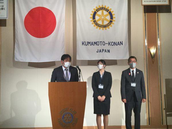 本日の卓話 米山奨学生の許エイさん(中央)、カウンセラーの松嶋宏平様(右)、カウンセラーの冨晃之介様(左)